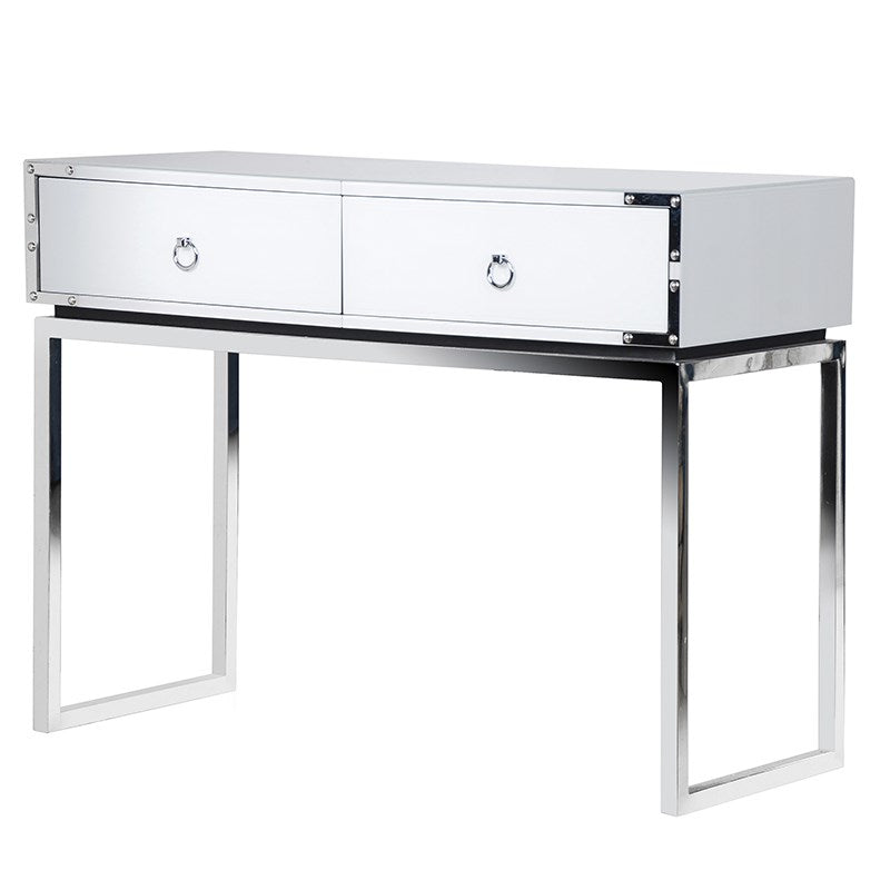 White Gloss Mirrored Console Table