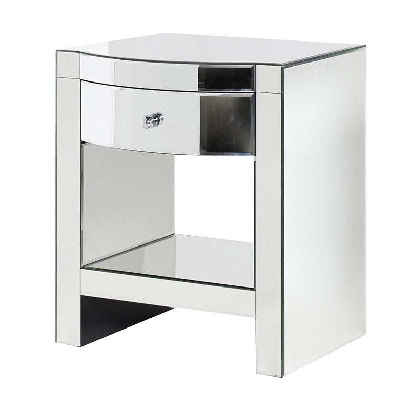 Peyton Mirrored Glass Bedside Table