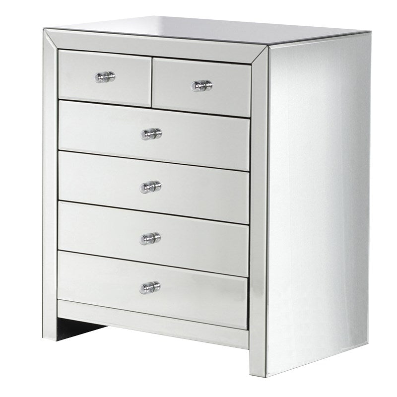 Peyton Mirrored Glass 6 Drawer Chest