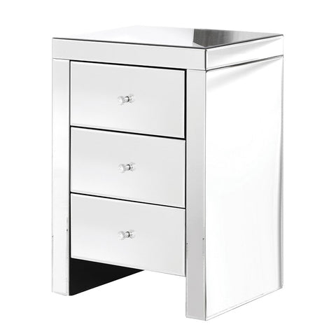 Mirrored 3 Drawer Bedside Table