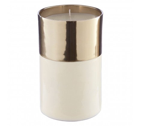 White Large Wax Filled Candle