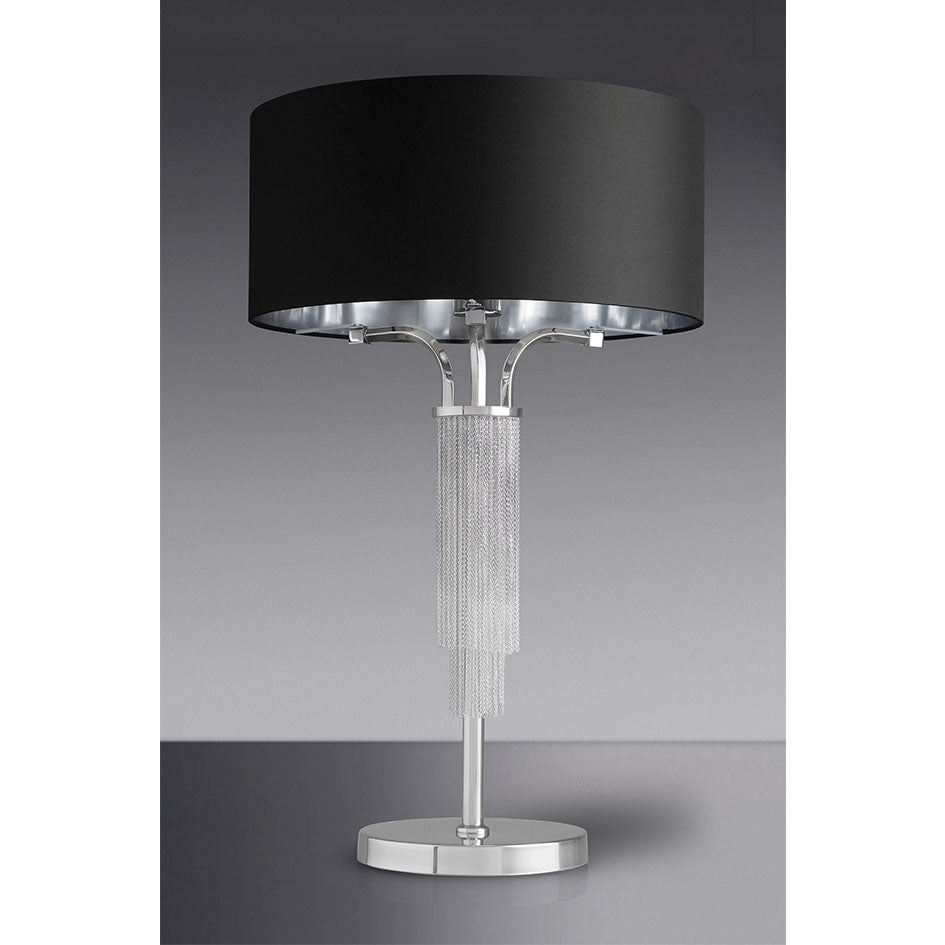 Table Lamp | Sliver | Nickel | Black Shade – Shabby Store