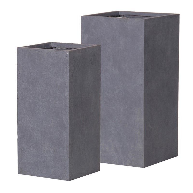Two Square Grey Planters