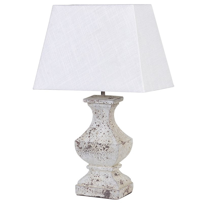 Distressed Wooden Lamp With White Shade