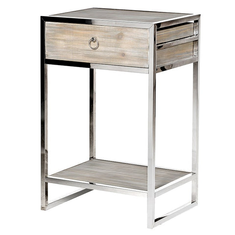 Fir Wood Bedside Table With Stainless Steel Frame