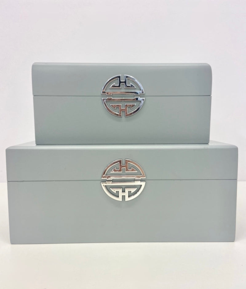 Set of 2 Grey Wooden Boxes