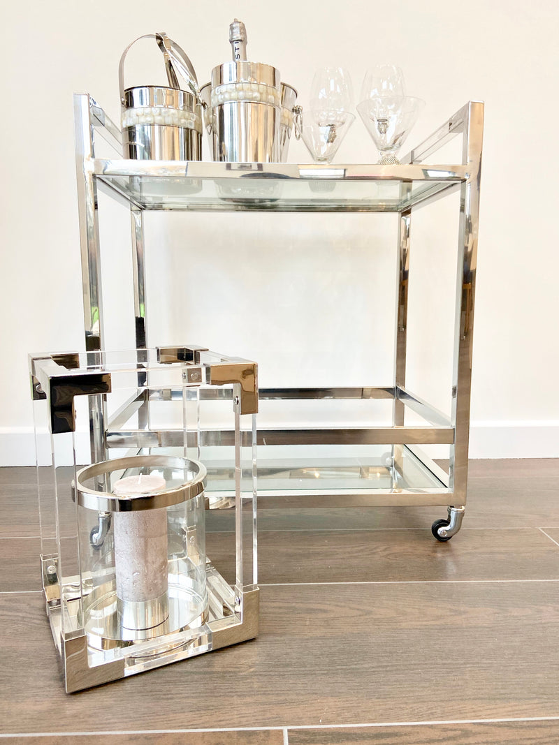 Acrylic and Steel Drinks Trolley