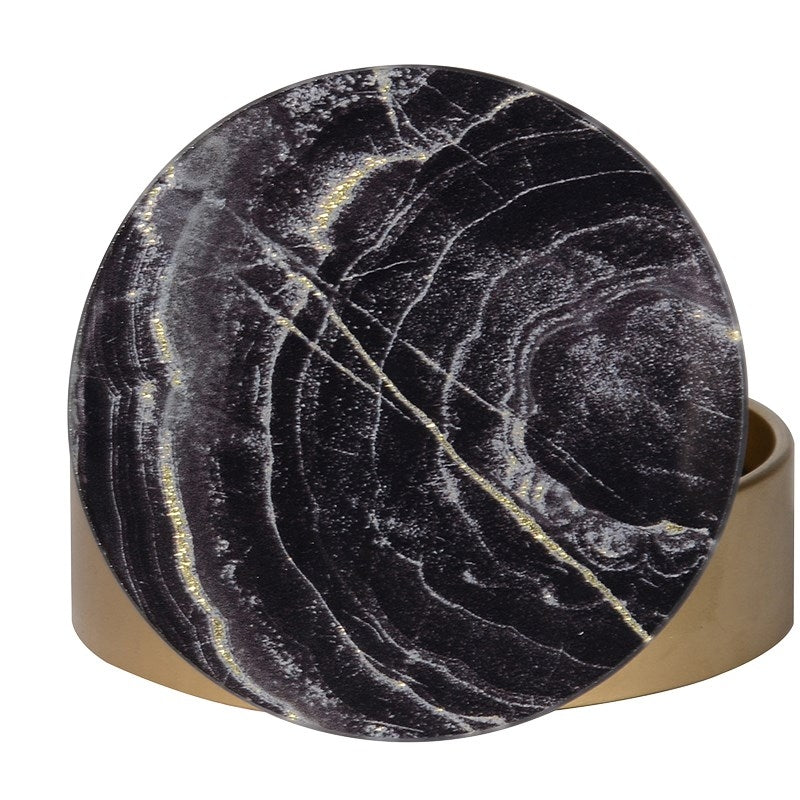 Set Of 4 Marble Effect Glass Coasters