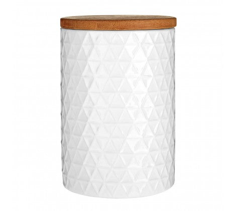 White Geometric Dolomite Storage Canister