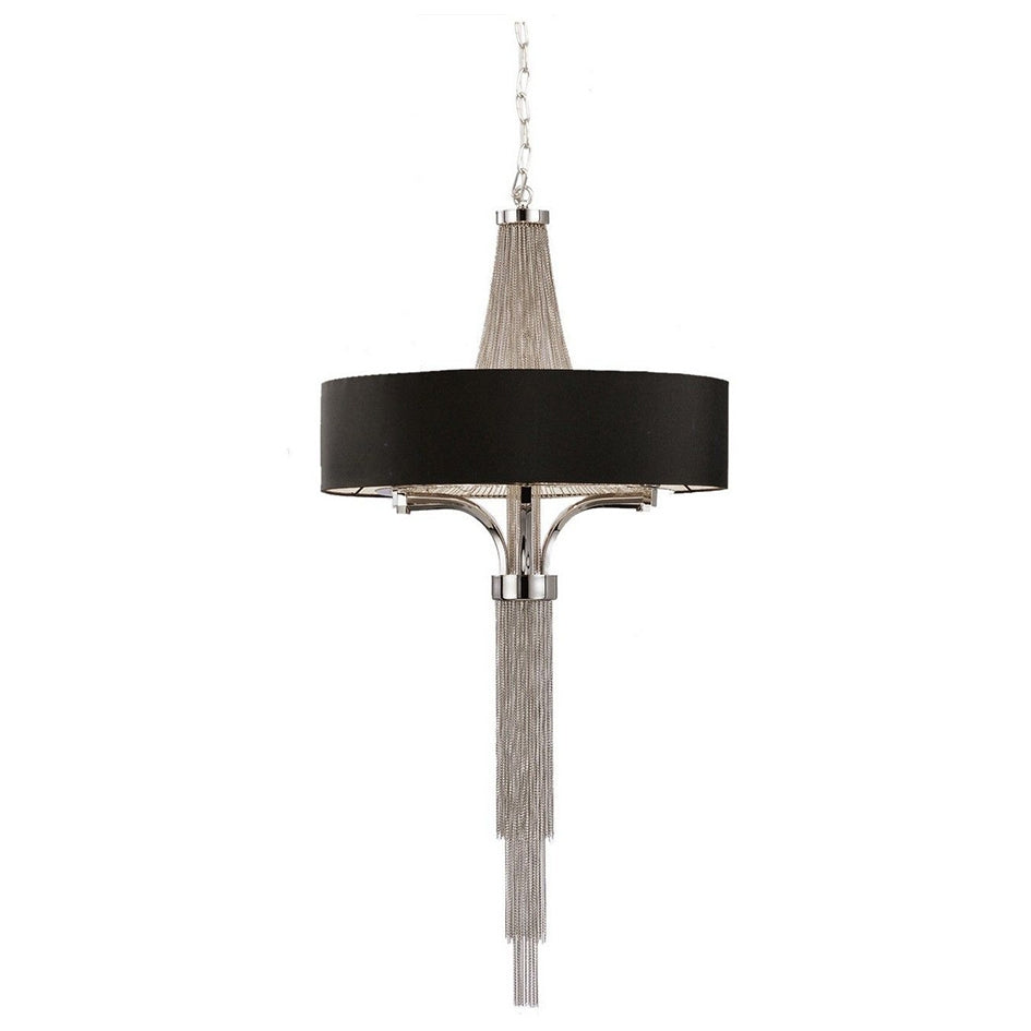 Large Langan Chandelier With Black Shade