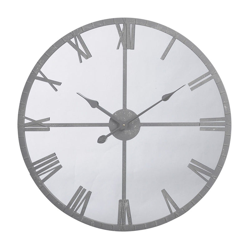 Grey Mirrored Wall Clock