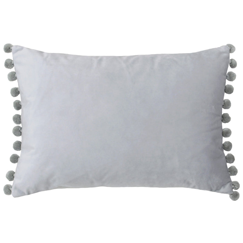 Dove Grey and Silver Pom Pom Cushion Cover
