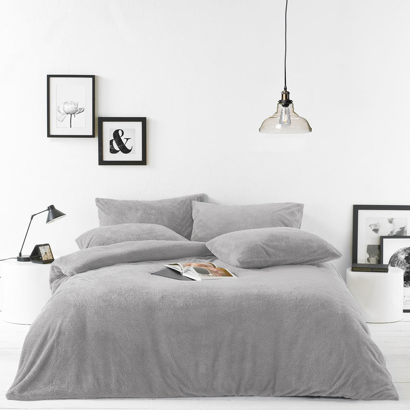 Grey Sherpa Duvet Set