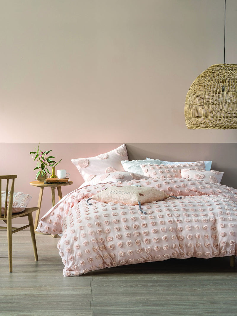 Boho Tufted Peach Duvet Set