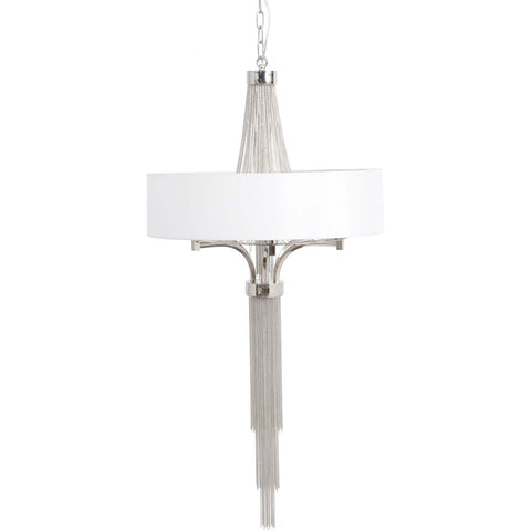 Small Silver Langan Chandelier With White Shade