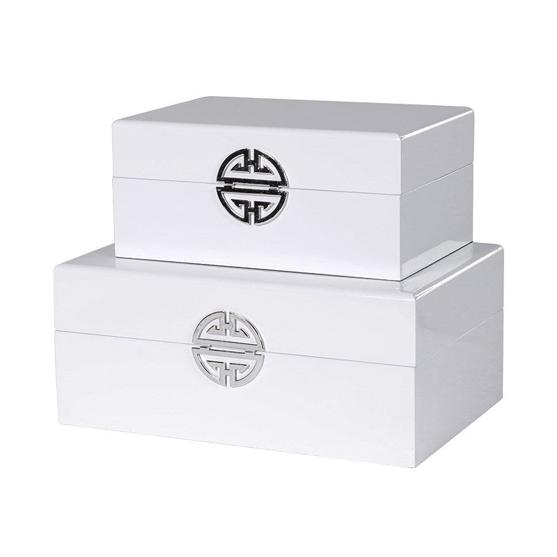 Set Of 2 White Wooden Boxes