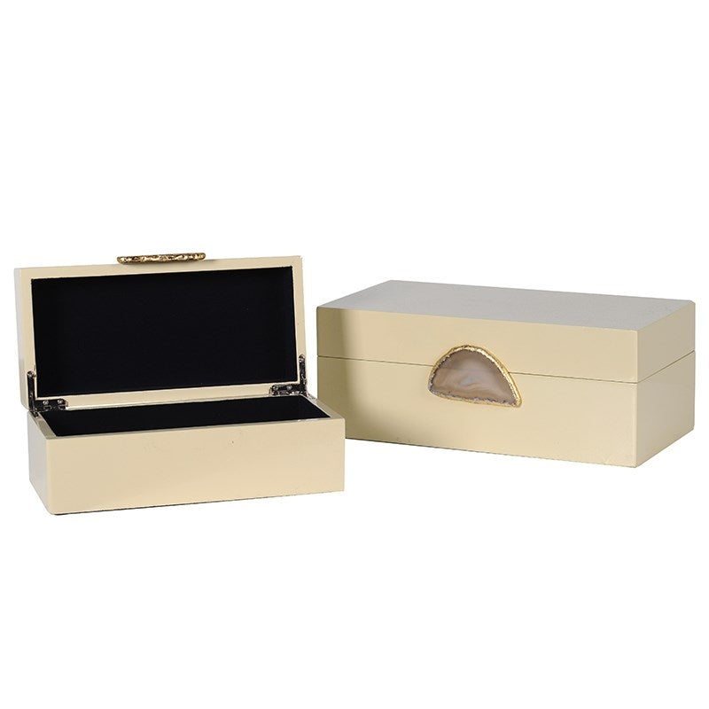 Set Of 2 Cream Boxes With Agate Detail