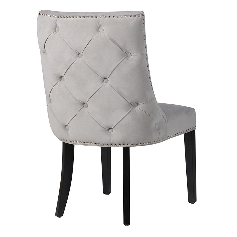 Grey Chrome Stud Buttoned Chair