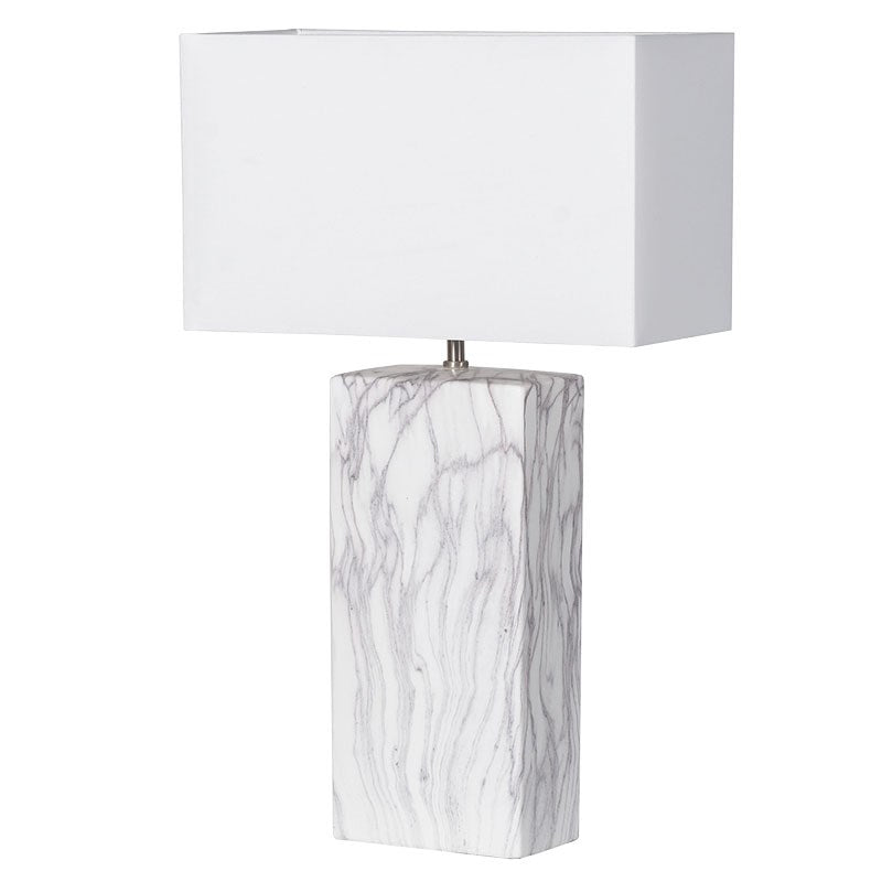 Marble Effect Lamp With Shade