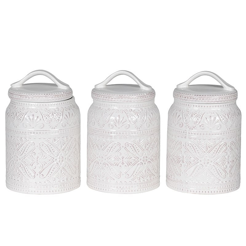 White Patterned Jars