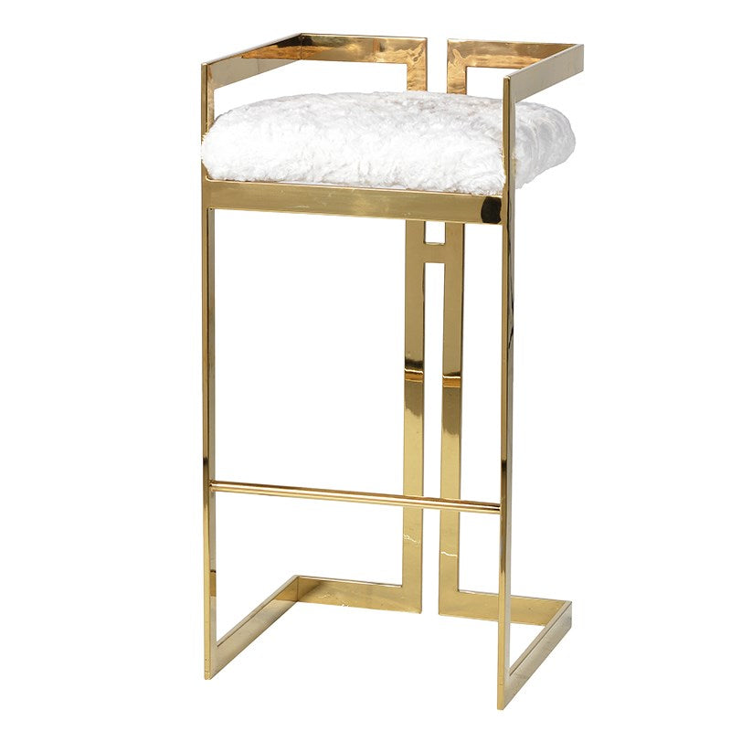 Art Deco Gold Furry Barstool