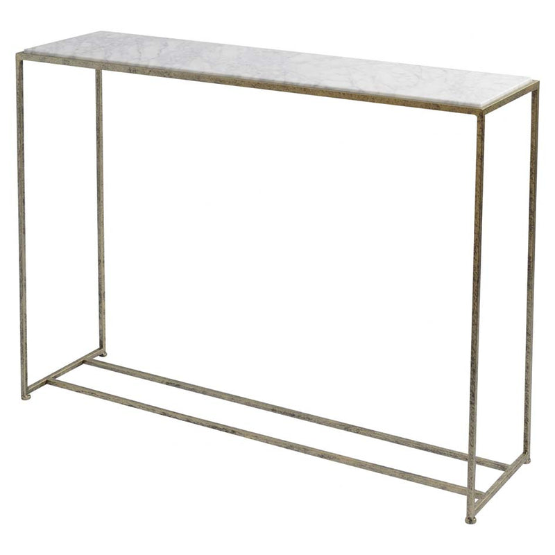 Distressed Gold Console Table With Marble Top