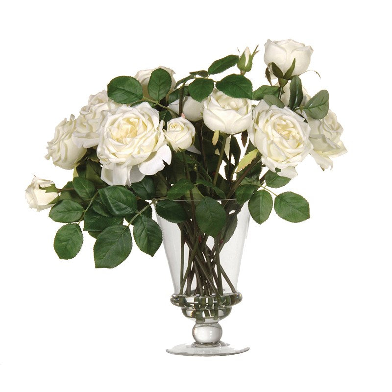 White Mixed Garden Rose Arrangement In Glass Footed Vase