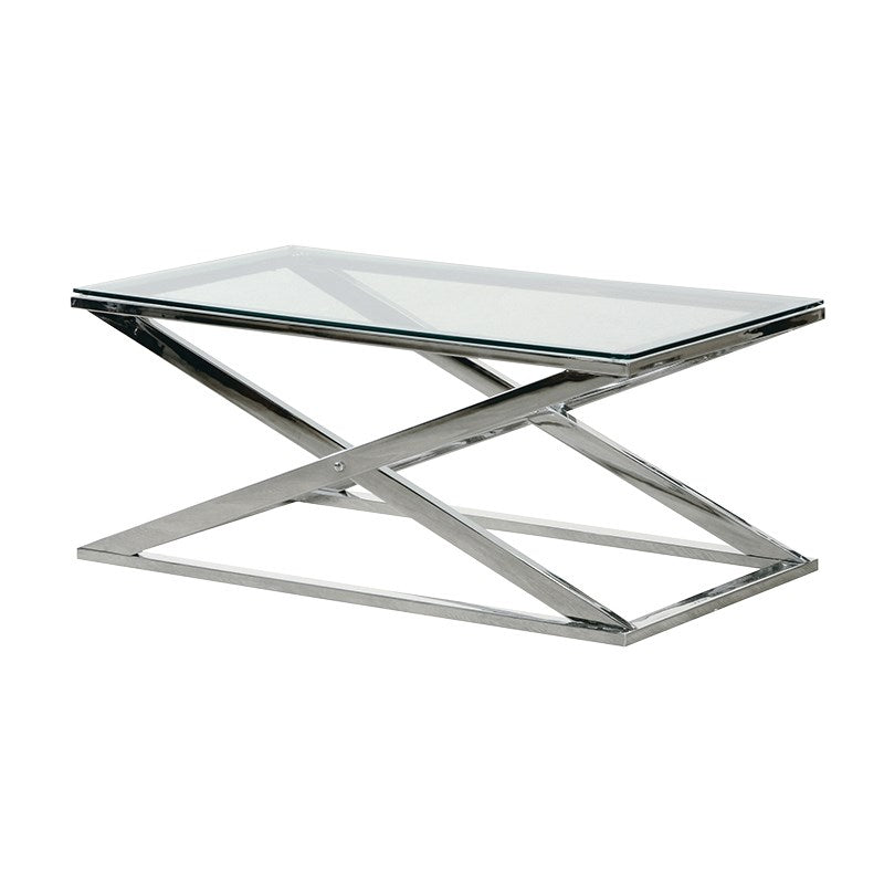Stainless Steel X Frame Coffee Table Shabby Store