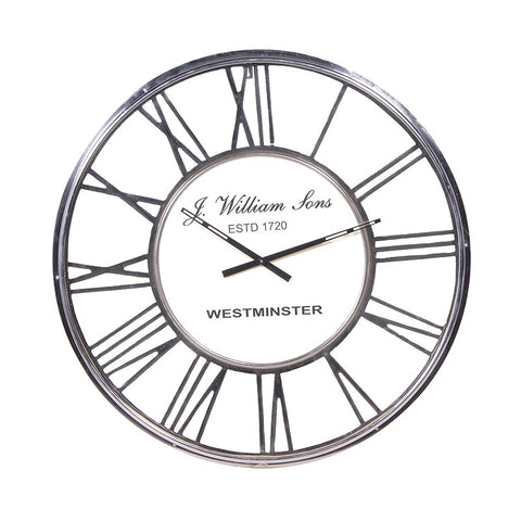 Chrome Roman Numeral Round Clock