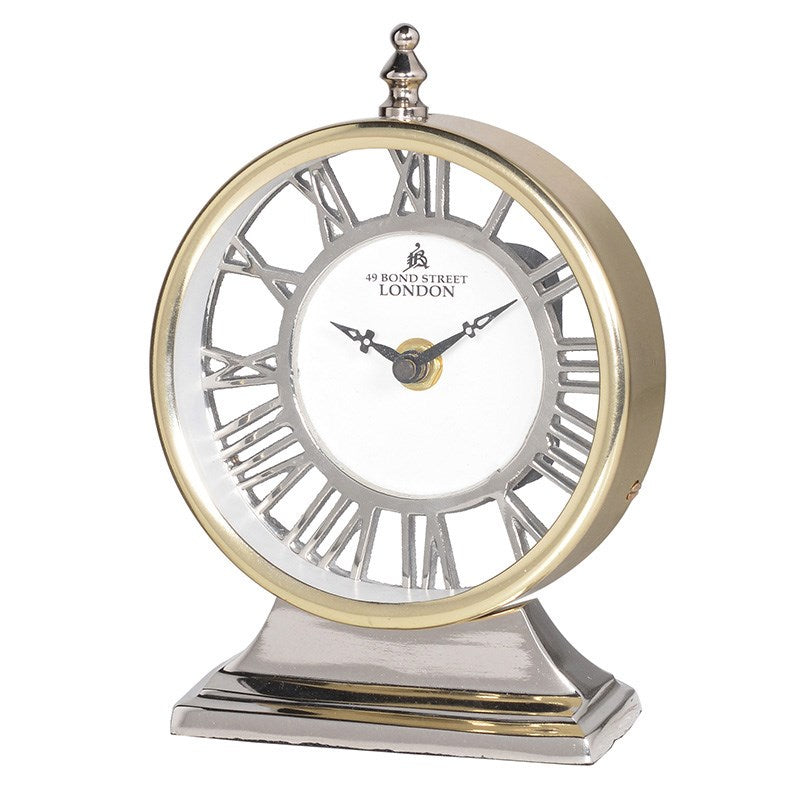 Two Tone Gold And Silver Round Mantle Clock