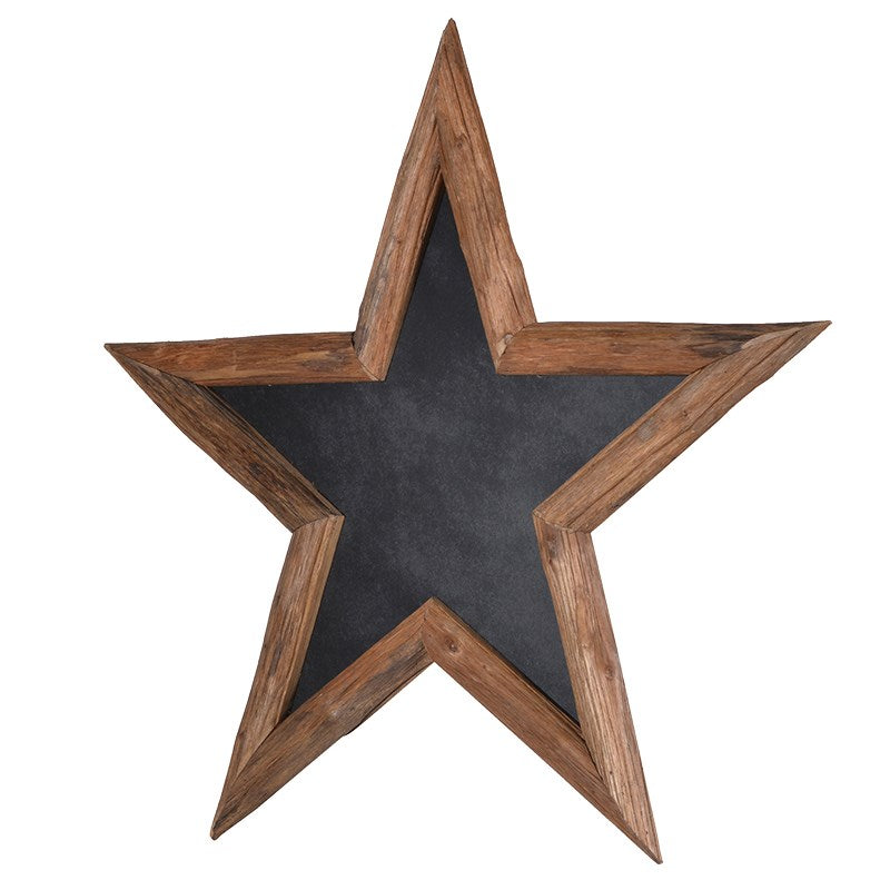 Star Chalkboard With Wooden Frame