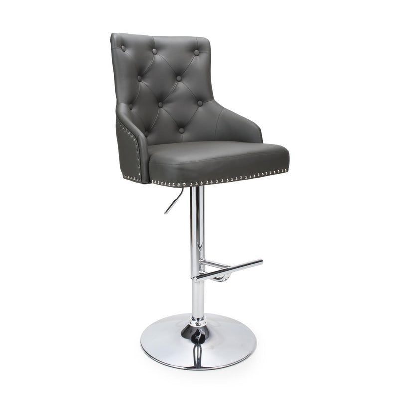 Leo Leather Effect Grey Bar Stool