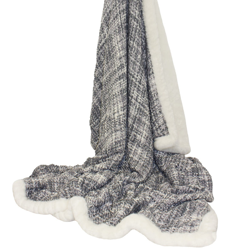Silver Checker Faux Fur Throw