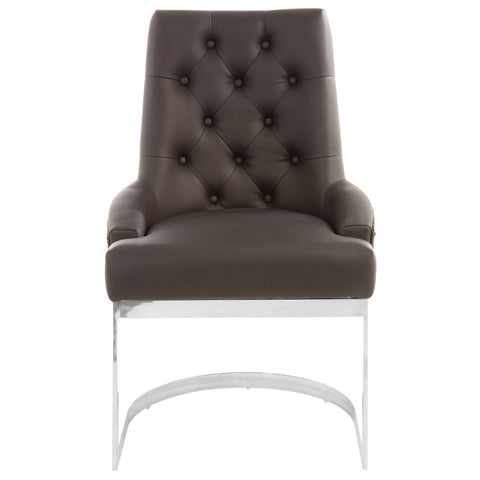 Dark Grey Lion Back Dining Chair