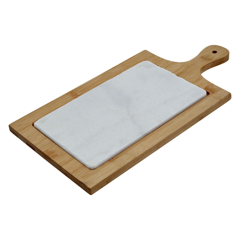 White Marble and Bamboo Cheese Board