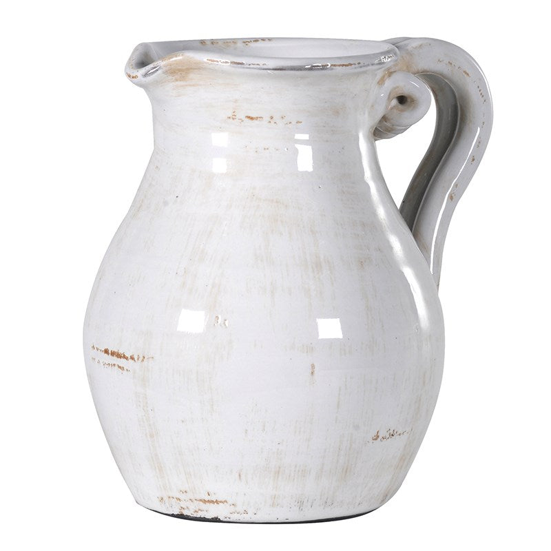 Off-White Low Twisted Handle Urn