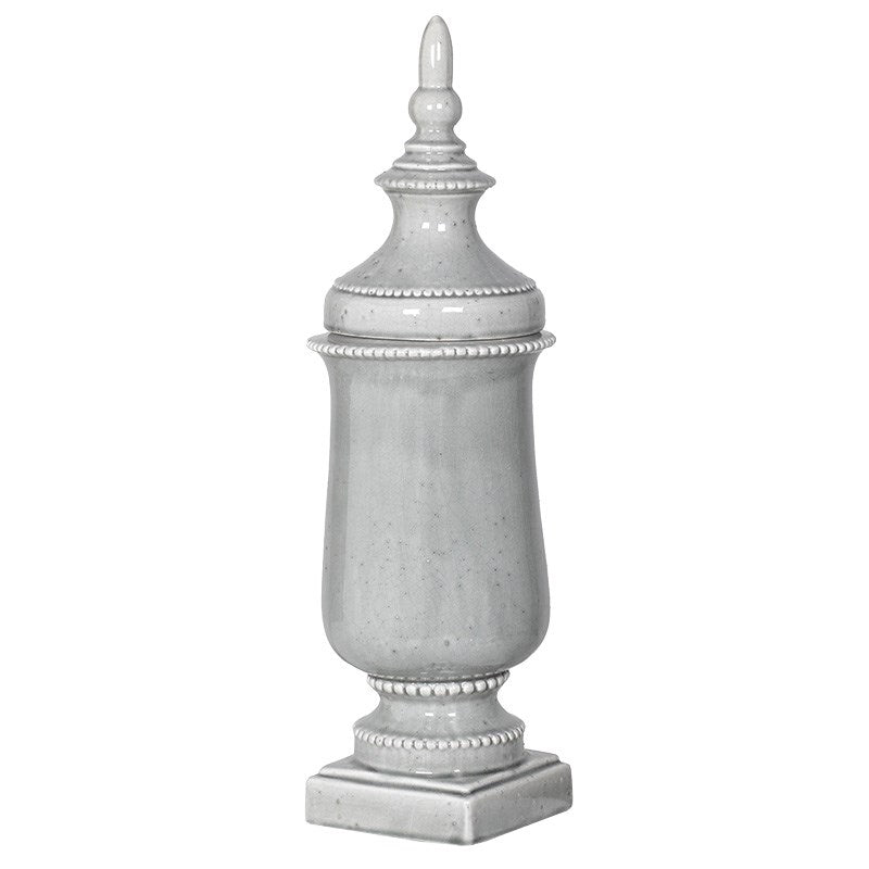 Grey Wash Ceramic Urn With Lid