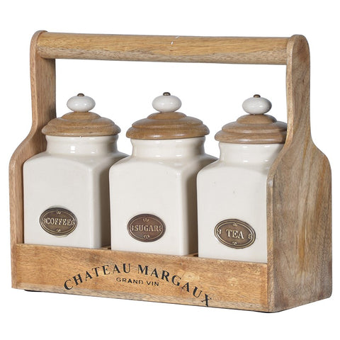 Ceramic Set Of 3 Jars With Carrier