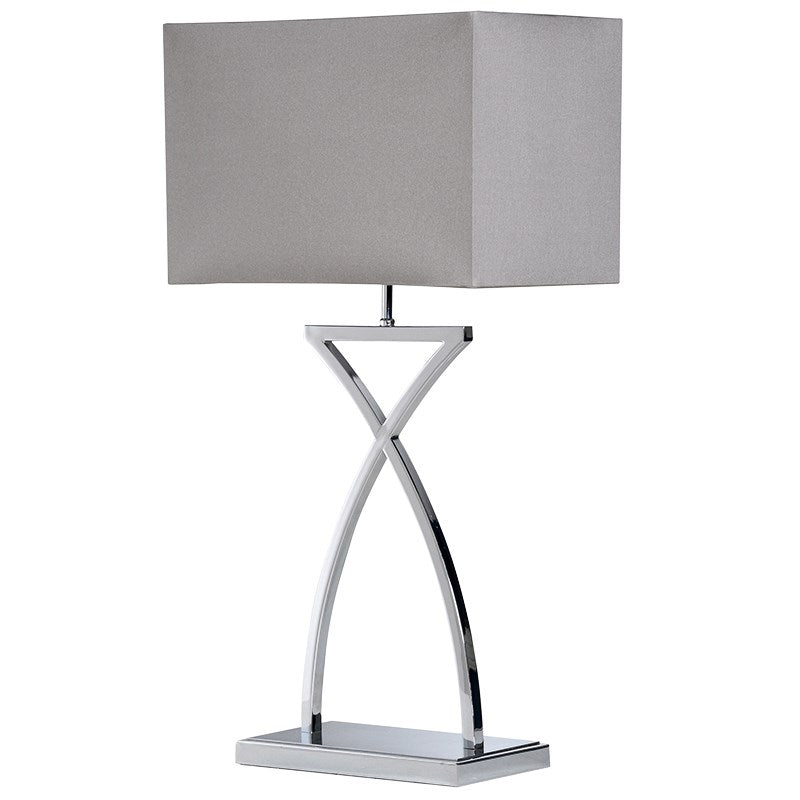 Cross Stem Lamp With Grey Shade