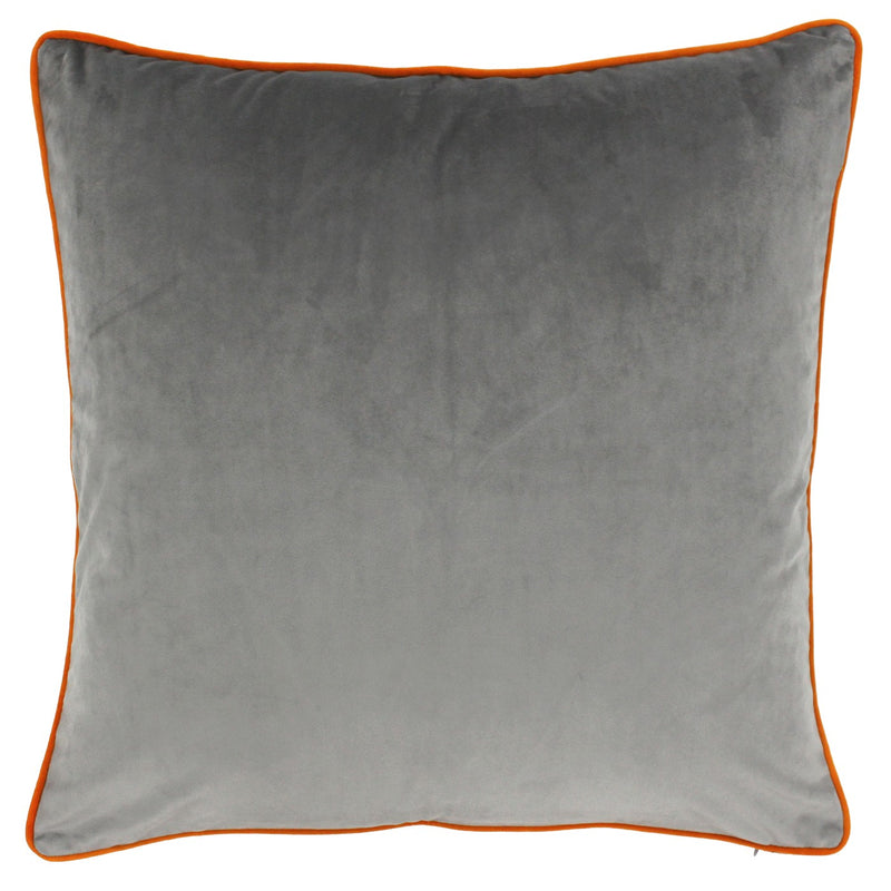 Grey Cushion Cover With Clementine Piping