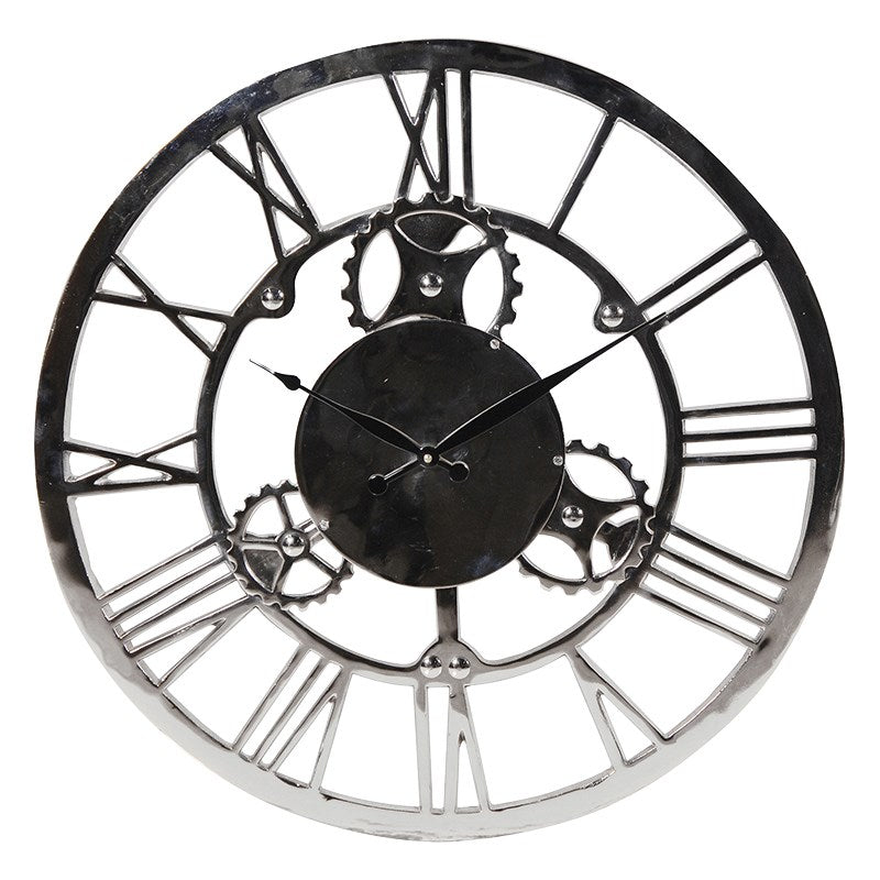 Nickel Finish Wall Clock With Cogs
