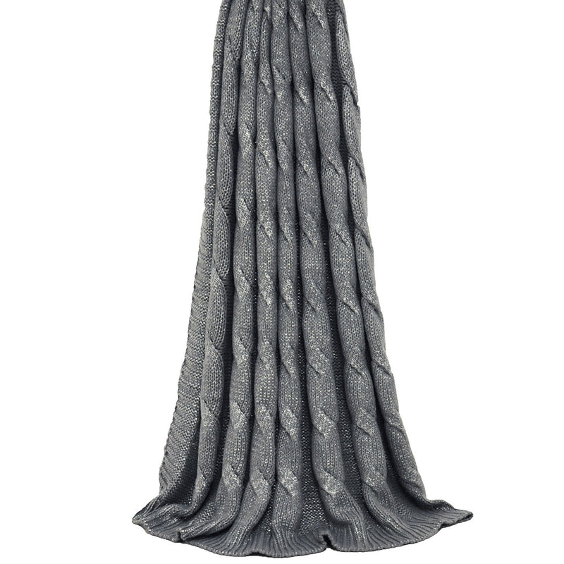 Metallic Silver Cable Knit Throw