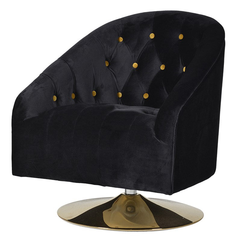 Buttoned Swivel Tub Chair On Gold Stand