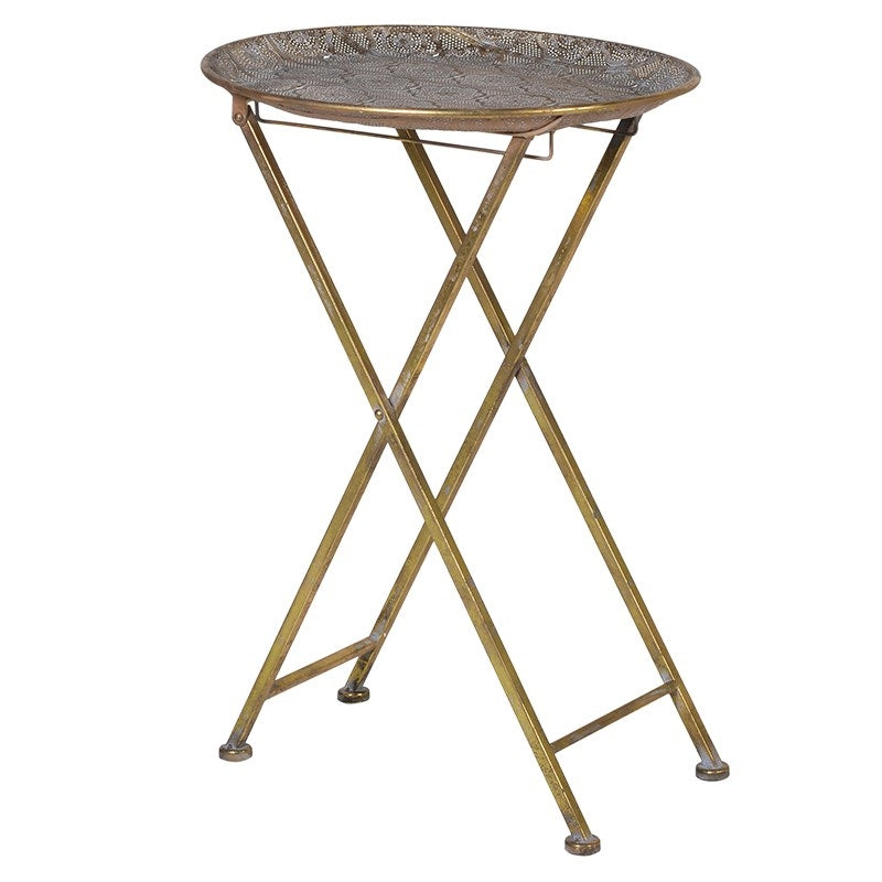 Ornate Gold Patterned Top Side Table