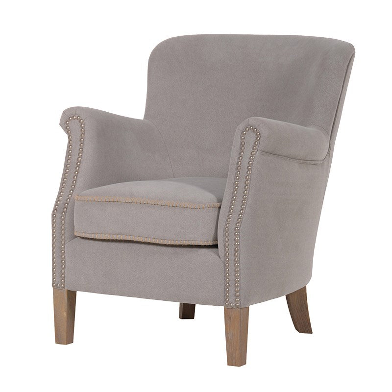 Smooth Light Grey Cotton Arm Chair
