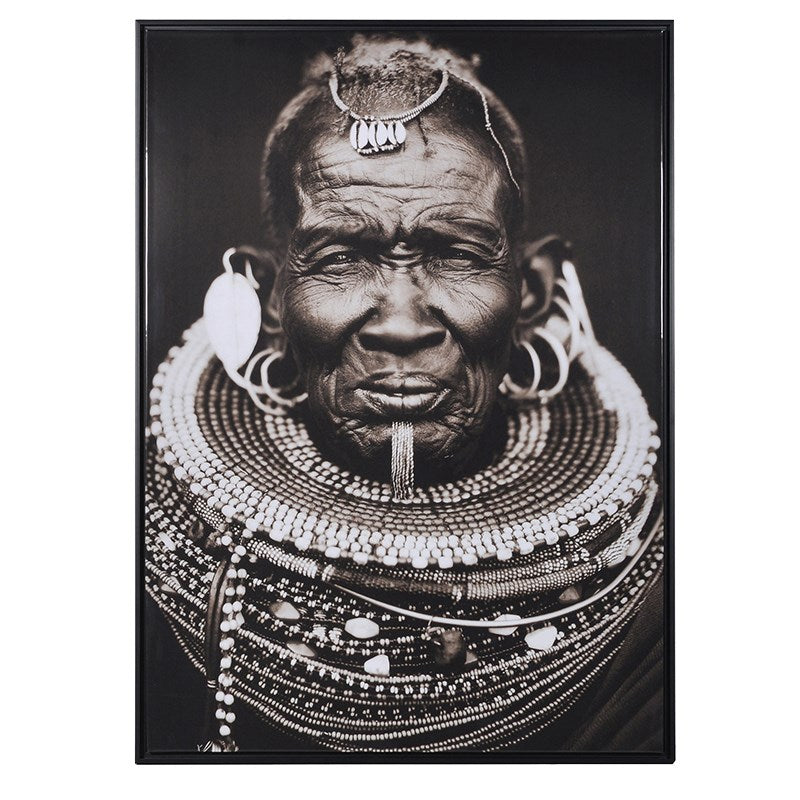 African Tribal Man Picture With Black Frame