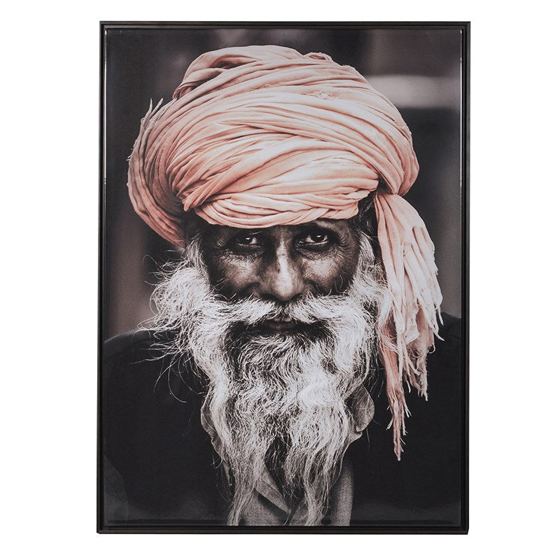 Indian Man Portrait Picture With Black Frame