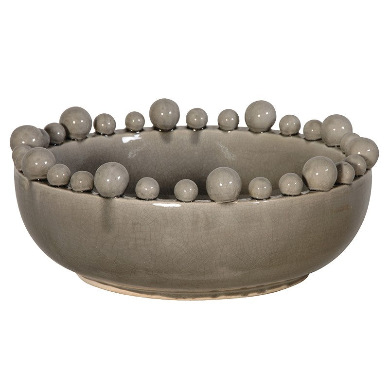 Grey Glazed Bowl with Ball Detail