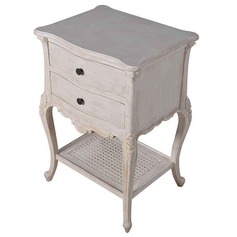 White Washed Rattan Bedside