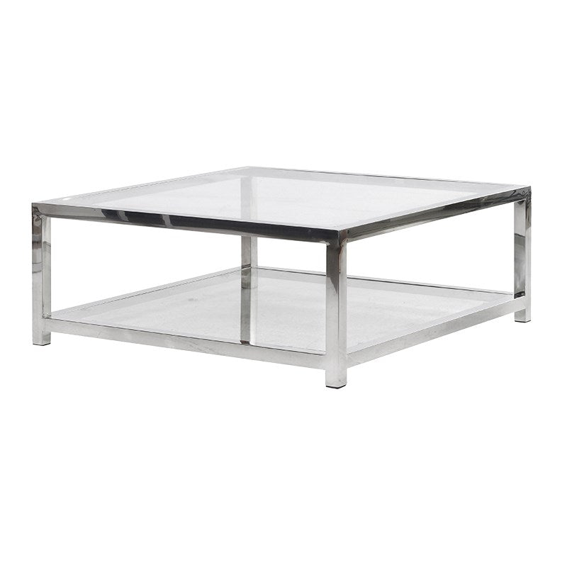 Chrome and Glass Low Coffee table
